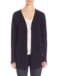 Rta Andre Distressed Cashmere Cardigan Midnight