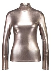 Fashion Union Iman Long Sleeved Top Metallic Gold