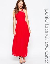 True Decadence Petite Maxi Dress With Lace Up Halter Back Detail Red