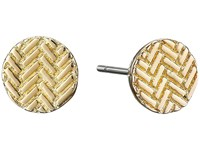 Cole Haan Etched Basket Weave Stud Earrings Gold Earring