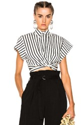 Alexander Wang T By Striped Cotton Twist Front Crop Short Sleeve Shirt In Stripes White Stripes White