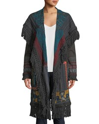 Johnny Was Bennai Open Front Duster Jacket Charcoal