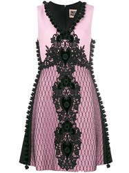 Fausto Puglisi Embroidered A Line Dress Pink And Purple