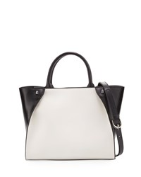 Charles Jourdan Orla Colorblock Leather Tote Bag White Black