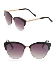 Jessica Simpson 55Mm Link Temple Clubmaster Cat Eye Sunglasses Black