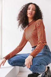 Silence And Noise Striped Cropped Turtleneck Sweater Yellow