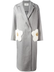 Anya Hindmarch Fried Egg Detail Coat Grey