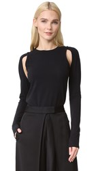 Dkny Knit Top With Cutouts Black