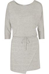 Splendid Wrap Effect Stretch Modal Jersey Mini Dress Gray