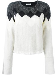 Aviu Geometric Pattern Knitted Blouse White