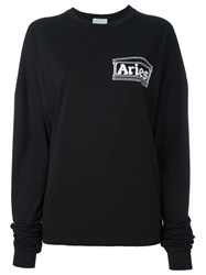 Aries Printed Longsleeved T Shirt Black
