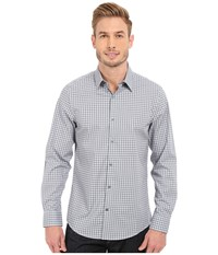 Perry Ellis Slim Fit Multicolor Check Pattern Shirt Chromite Men's Long Sleeve Button Up Gray