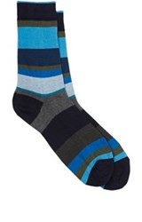 Barneys New York Men's Variegated Stripe Cotton Blend Mid Calf Socks Blue