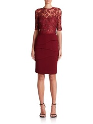 Teri Jon By Rickie Freeman Lace Bodice And Tiered Skirt Sheath Merlot Champagne Navy