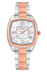 Fendi Women's Momento Square Bracelet Watch 32Mm Silver Mop Rose Gold