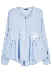 High Ethos Blue Embroidered Cotton Shirt
