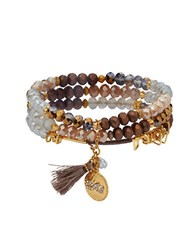 Lonna And Lilly Cubic Zirconia Stretch Bracelets Set Of 3 Brown