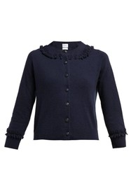 Barrie Bobble And Lace Stitched Cashmere Cardigan Navy