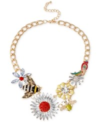 Macy's Haskell Gold Tone Bumble Bee And Flower Frontal Necklace