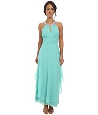 Alejandra Sky Nessa Rhinestone Collar Gown Mint Women's Dress Green