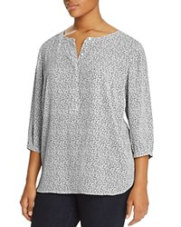 Nydj Plus Graphic Print Pleat Back Blouse Cross Hatch Terrace