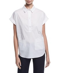 Emporio Armani Short Sleeve Collared Boxy Cotton Poplin Blouse White