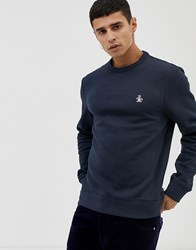 Original Penguin Icon Logo Sweatshirt In Navy Dark Sapphire