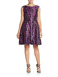 Anne Klein Ribbon Print Satin Dress Violet