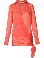 Giuliana Romanno Sheer Wrap Shirt Red