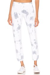 Monrow Elastic Waist Cloud Tie Dye Sweats White