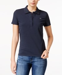 Armani Exchange Short Sleeve Polo Top Solid Blue