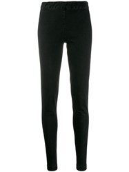 The Row Slim Fit Denim Leggings Black