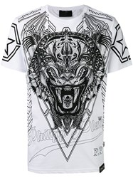 Philipp Plein Print Embellished T Shirt White