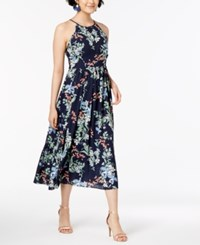 Maison Jules Floral Print Halter Dress Created From Macy's Blue Notte Combo