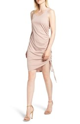 Trouve Side Shirred Body Con Dress Pink Fawn