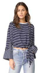 Evidnt Knotted Crop Top With Cutout Sleeves Navy Stripe