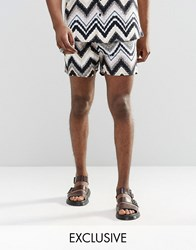 Reclaimed Vintage Festival Shorts In Aztec Print Blue