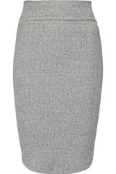 Enza Costa Ribbed Stretch Jersey Skirt Gray