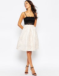 Glamorous Full Midi Skirt In Metallic Jacquard Rose Gold