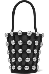 Alexander Wang Roxy Mini Studded Suede Trimmed Leather Tote Black
