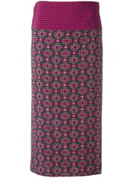 Aspesi Geometric Print Midi Skirt Pink Purple