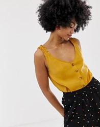 Gestuz Arienne Top With Frill And Button Front Yellow