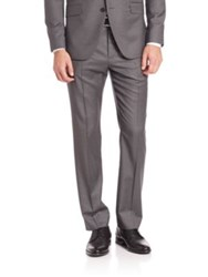 Theory Marlo Virgin Wool Pinstriped Trousers Grey