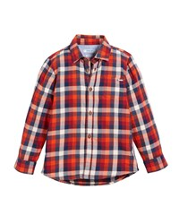 Mayoral Plaid Cotton Button Down Shirt Red