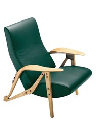 Zanotta Gilda Leather And Wooden Armchair Green Brown