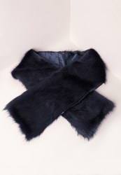 Missguided Oversized Faux Fur Scarf Navy