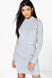 Boohoo High Neck Long Sleeve Bodycon Dress Grey