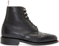 Thom Browne Black Leather Brogue Ankle Boots