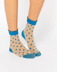 Pretty Polly Blue Spot Sock Blue