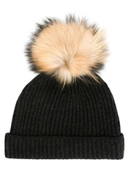 N.Peal Detachable Pompom Ribbed Hat Grey